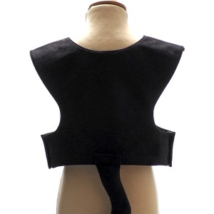 Back view of the black cat tabard with black tail at the centre back.