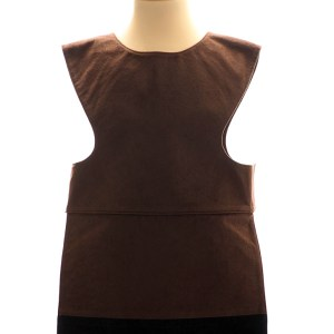 Brown horse tabard. Front view. Dark brown tabard with black and grey bands, decorated with black ric rac braid at the bottom.