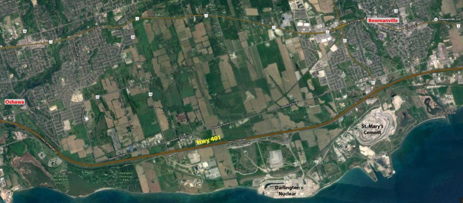 Google satellite map of shoreline from Oshawa in west to Bowmanville in east.