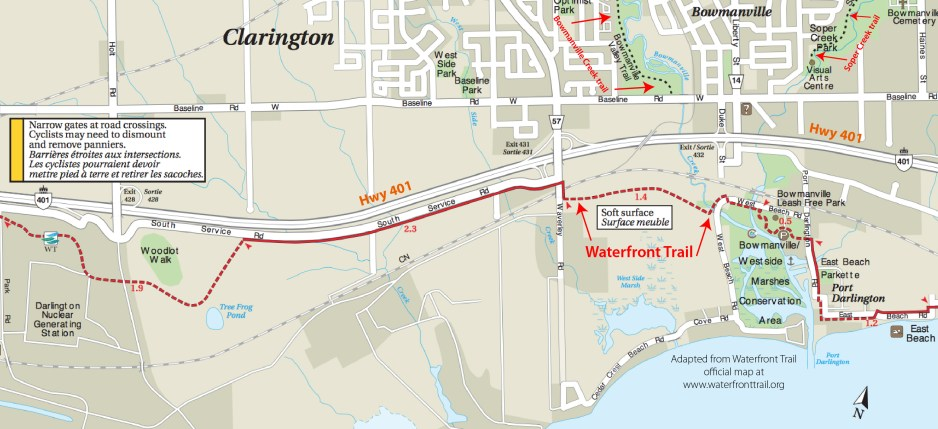 As shown on this Waterfront Trail map, there is no good linkage between the recreational trails in residential Bowmanville and the Waterfront Trail.