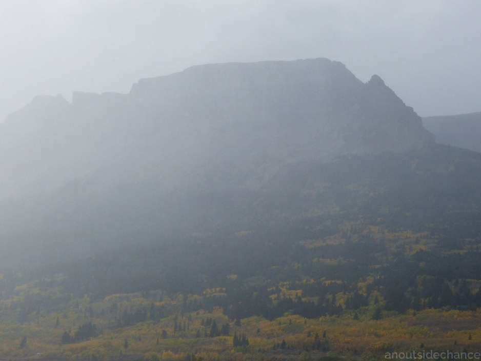 Rain blows across the mountains, Glacier National Park, Sept 17, 2016.