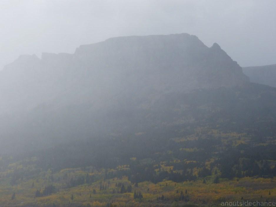 Rain blows across the mountains, Glacier National Park, Sept 17, 2016.