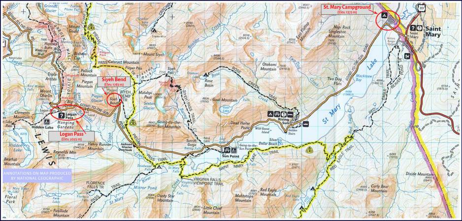 Map of eastern section of Going to The Sun road.