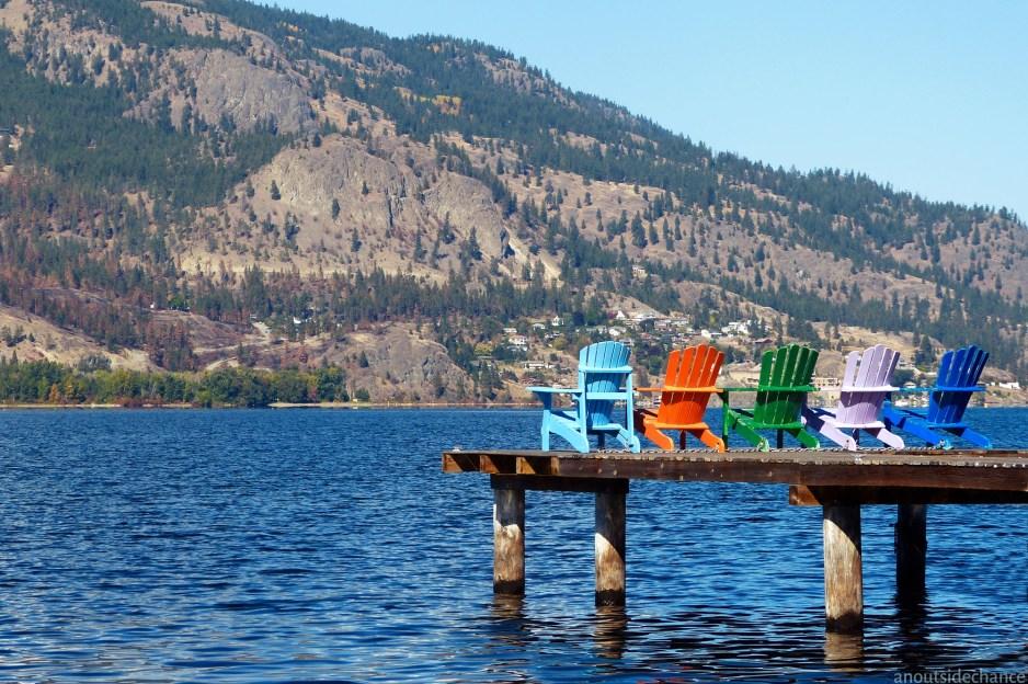 Looking west across Okanagan Lake from a small waterfront park in Kelowna