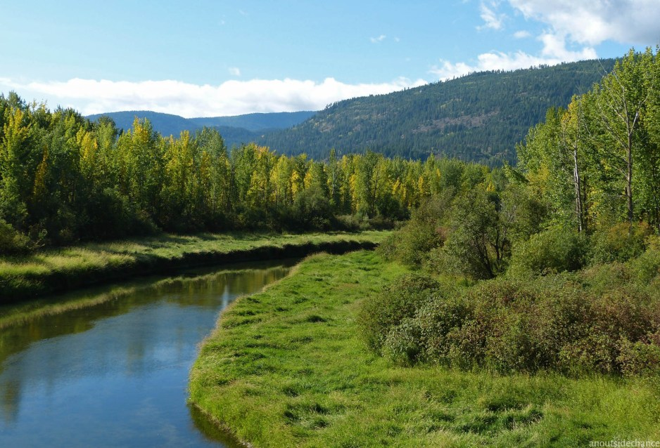 A small creek flows towards the Kootenai at the southwest corner of Kootenai National Wildlife Refuge.