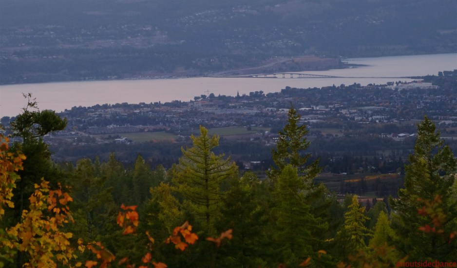 Twilight view of Kelowna from Kettle Valley Rail Trail.