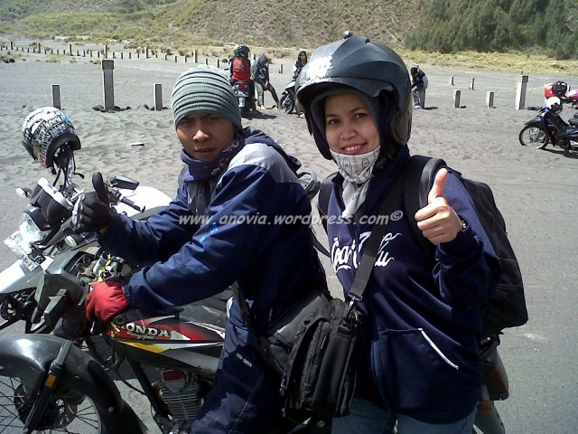Me and Tukang Ojek at the desert of Bromo. It's fun, really.