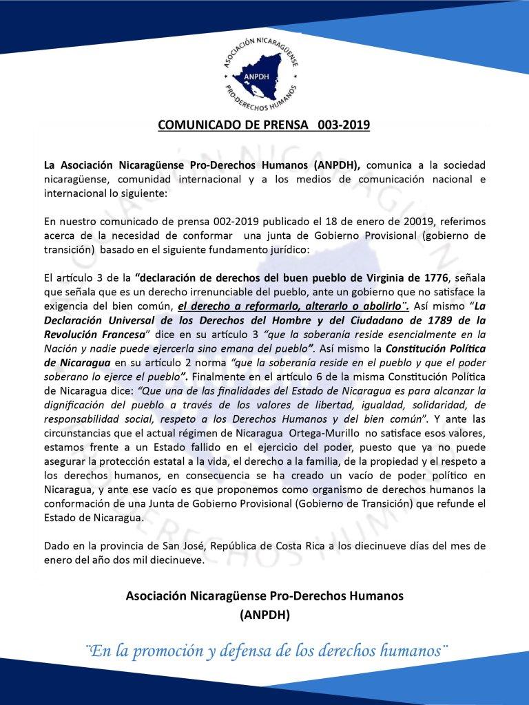 COMUNICADO DE PRENSA 003-2019