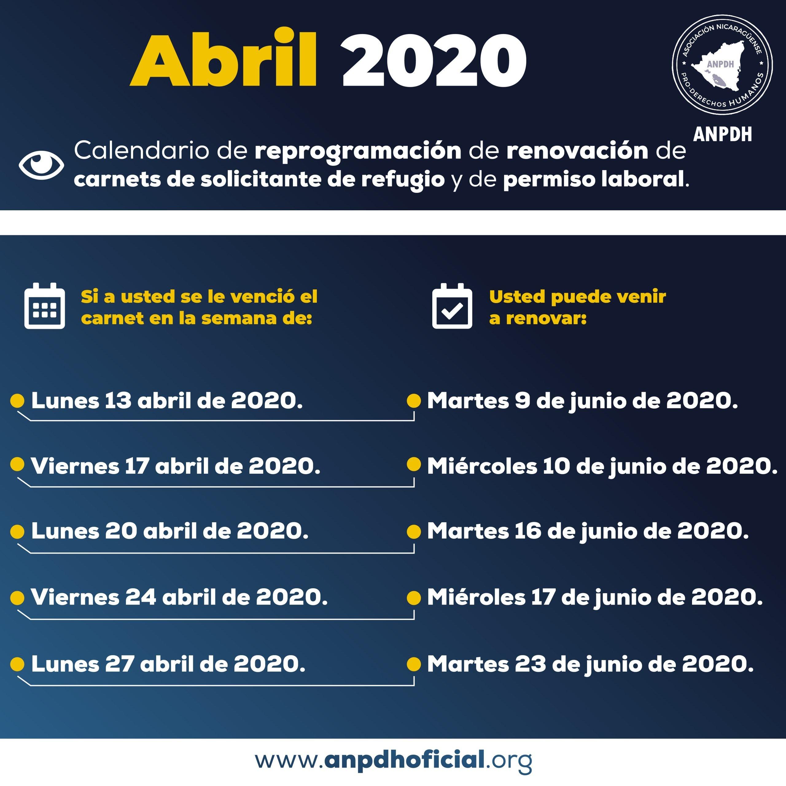 SOLICITANTE DE REFUGIO Y RENOVACION ABRIL