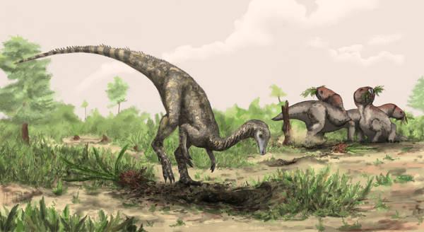 Ricostruzione artistica del Nyasasaurus parringtoni, il più antico dinosauro mai ritrovato (fonte: Natural History Museum, London/Mark Witton)