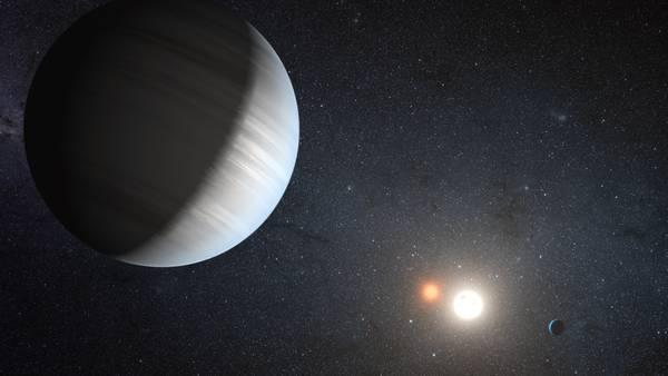 Rappresentazione artistica del sistema planetario Kepler-47 (fonte: NASA/JPL-Caltech/T. Pyle)
