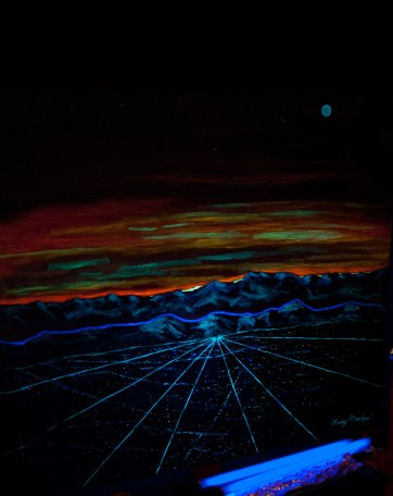 This photo is of a beautiful painting. During the day it is of the rockies but during the night time when the black lights come on, a different picture is revealed.