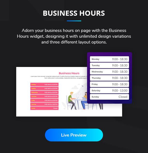 Ansh Elementor Elements Business Hours