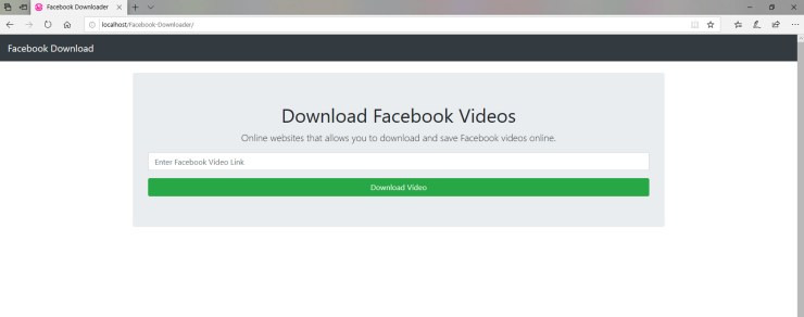 The Facebook downloader web application interface