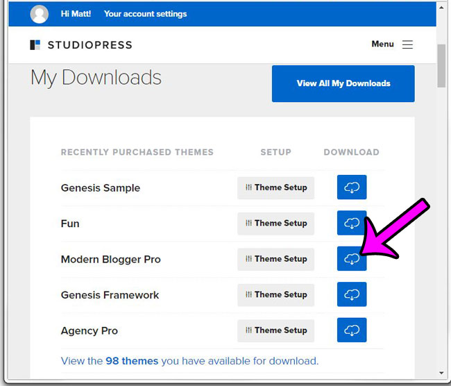 download a child theme from studiopress