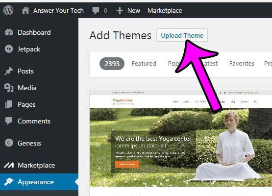 click the upload theme button again