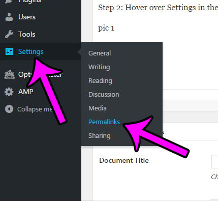 hover over settings, then click permalinks