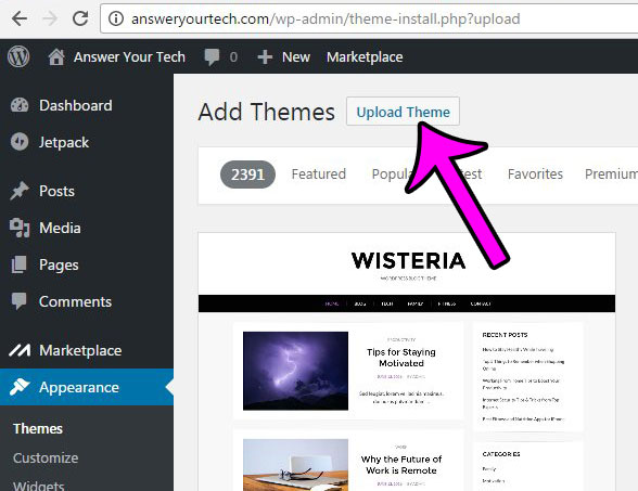 click the upload theme button