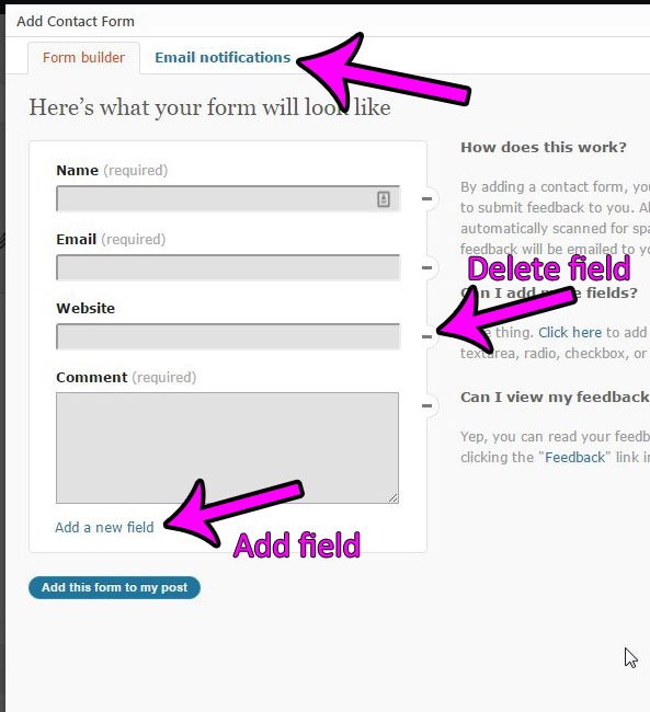 how to add a jetpack contact form in WordPress