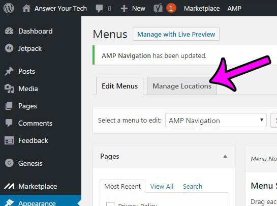 click the manage locations tab