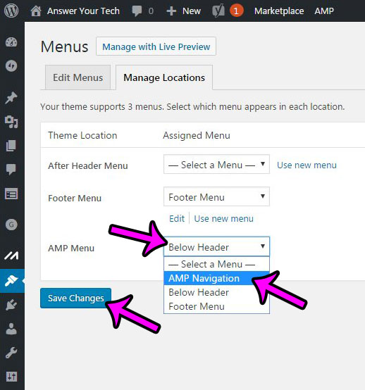 how to create an amp menu in wordpress