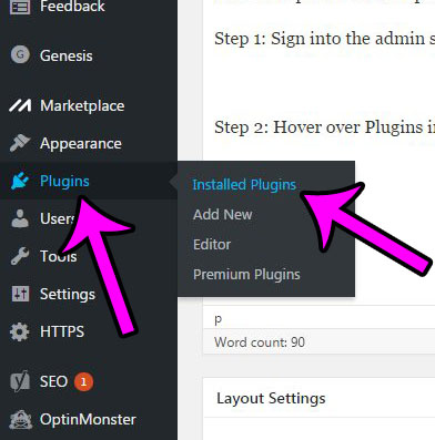 open the list of installed wordpress plugins