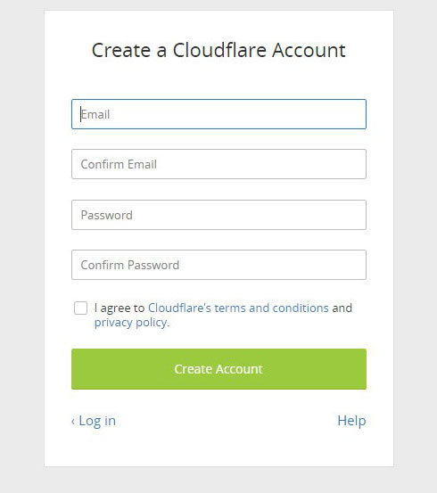 create a cloudflare account