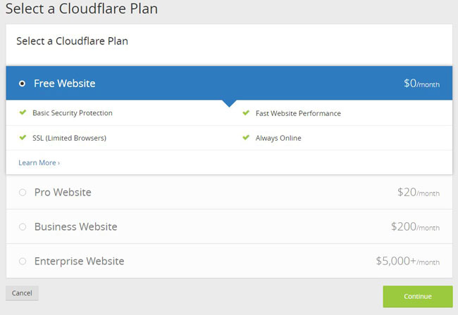 choose a cloudflare plan