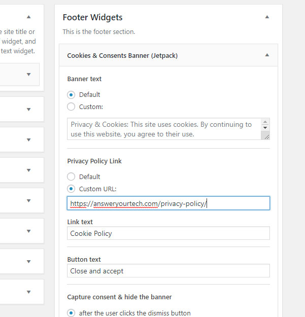 How To Add The Cookie And Consent Banner In Wordpress With Jetpack Answer Your Tech