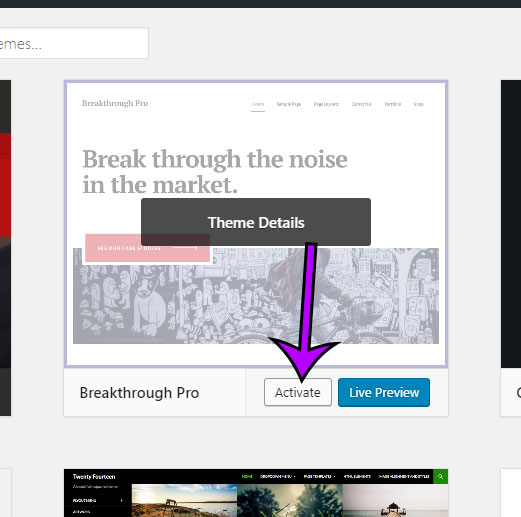 alternate way to activate an installed wordpress theme