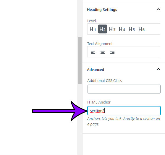 how to create an html anchor in wordpress
