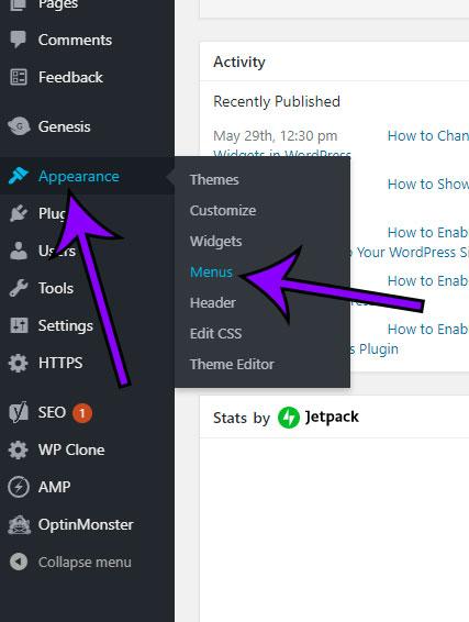 click appearance, then click menus