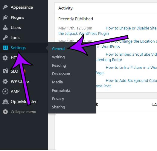 click settings, then click general