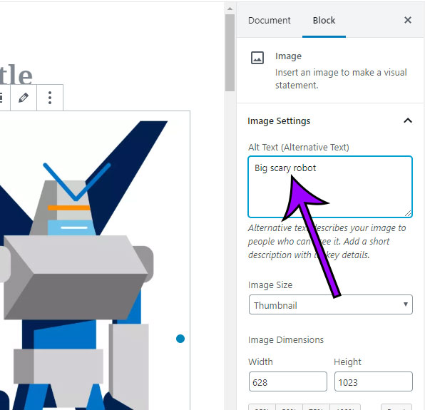 how to add alt text to a picture in a WordPress post