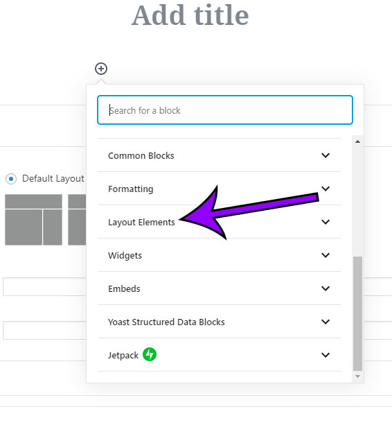 click the layout elements tab