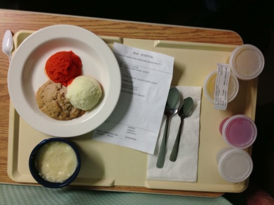 hospital food on tray