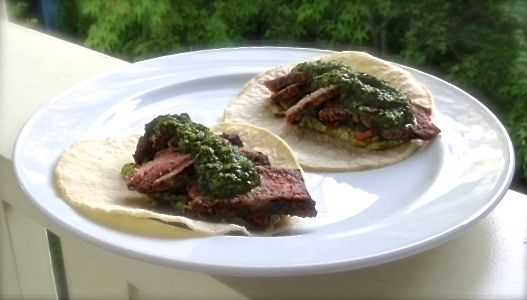 chimichurri sauce steak tacos