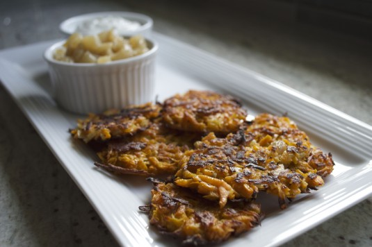 sweet potato latkes serving plate