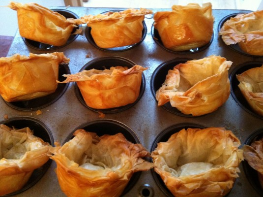 phyllo cups for dessert turned up to keep crisp