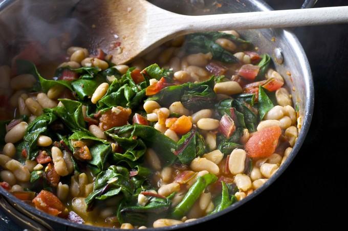 chard white bean ragout saute pan