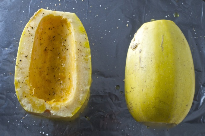 spaghetti squash before roasting