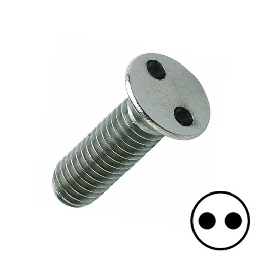 2 Hole Flat Head Machine Screw Stainless A2