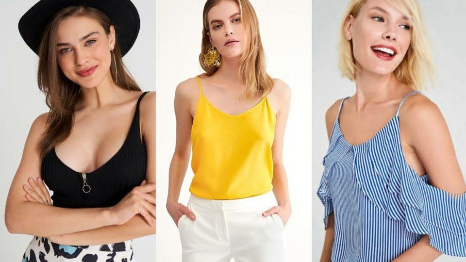 Askılı bluzlar bayan giyim askılı bluz elbise kombinleri modelleri