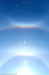 22deg halo, 46deg halo, upper tangental arc, circumzenithal arc, and diamond dust