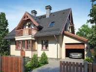 Проект мансардного дома с гаражом, террасой и балконом «КМ-89»