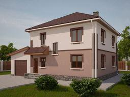 Проект двухэтажного дома с гаражом, балконом и террасой «КД-24»