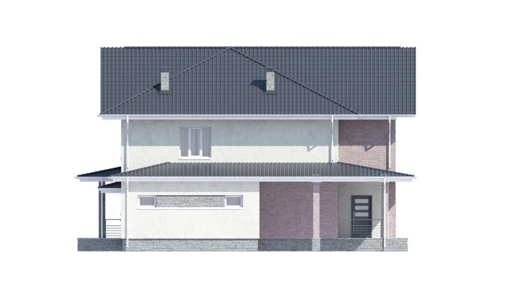 Фасад двухэтажного дома с гаражом и террасой «КД-34» слева