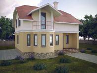 Проект мансардного дома с балконом «КМ-103»