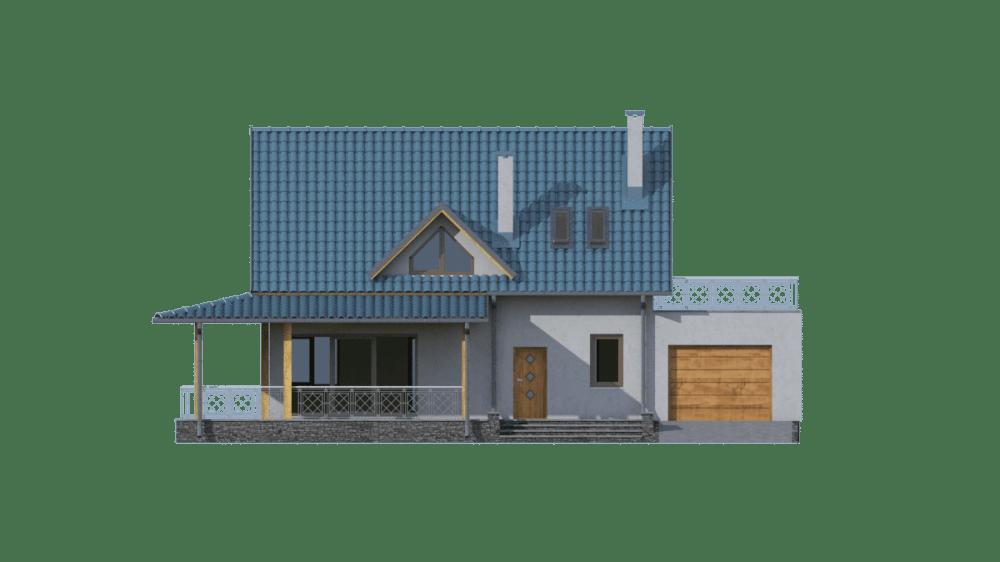 Фасад мансардного дома с гаражом и террасой «КМ-12» - спереди