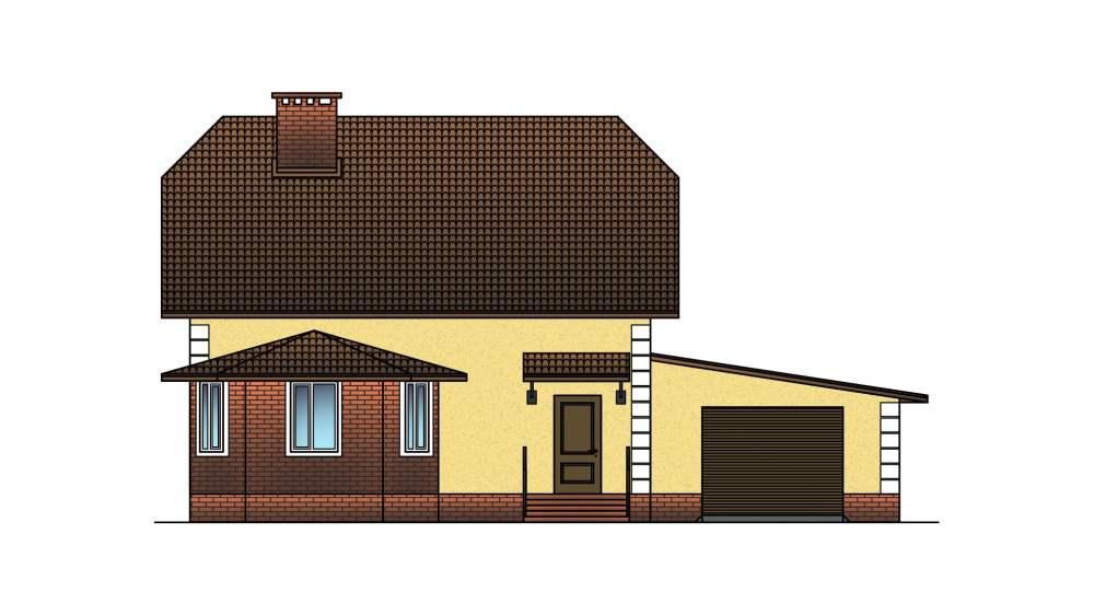 Фасад мансардного дома с гаражом «КМ-19» - спереди